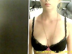 Dressing room hidden cam - Topless brunette with nice boobs