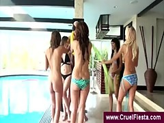 Girls in bikini tie chippendale to suck