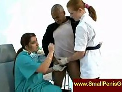 Nurses jerking a small penis