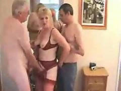 Mature wife and hubby joined by new man