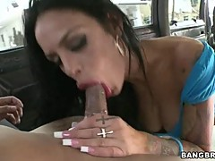 Sassy Angelina Valentine gobbles down this prick