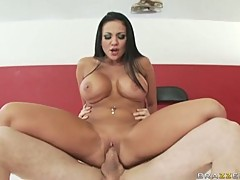 Audrey Bitoni grinds against a huge shaft in her dripping pussy