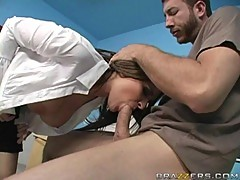 big titted Austin Kincaid moves huge cock in her dirty mouth