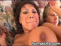 Huge tit babe Ava Devine gets double pene ...
