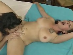 Bobbi Starr and purple hair chick have lesbian sex