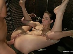 Submissive Bobbi Starr with a huge cock in her ass