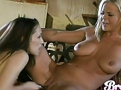 Busty blonde Bree Olson gets her pussy played by horny Celes...