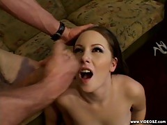 Christie Lee gets her face showered with hot cum
