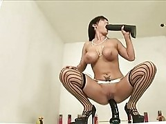 Big boobed Claire Dames is sliding her awesome snatch on a t...