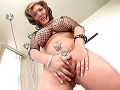 Busty babe Claire Dames lets her big tits bounce as she gets...