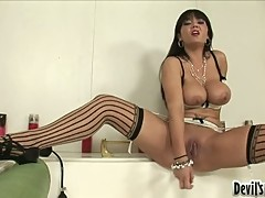 Fuck craving whore Claire Dames is thumping something hard in and out her snatch