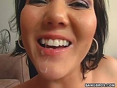 Sexy babe Claire Dames rides a huge cock then gets her face sprayed with cum