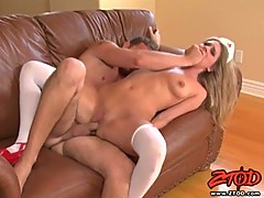 Naughty brunette claudia Rossi happy with cock fucking her tight holes