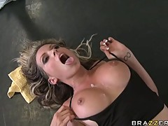 Busty hot Courtney Cummz gets her meaty jugs sprayed with rich cum