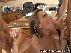 Courtney Cummz takes two hard cock in her mouth to drain