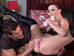 Dana Dearmond in leather gets spanked and rammed hard.