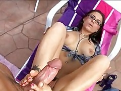 Scorching hot Eva Angelina rocking her mans shaft between he...