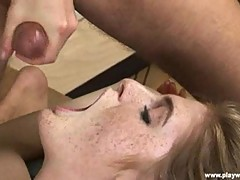 Luscious Faye Reagan gets her face splattered with cum