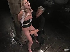 Horny Faye Runaway is tied up while she gets her clit teased with a vibrator