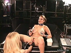 Sizzling Nina Hartley torments Gia Paloma's pussy