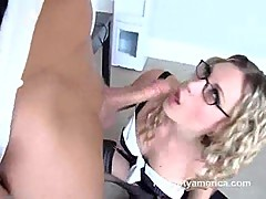 Harmony Rose gets on her knees and sucks a big hard dick