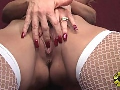 Awesome Janet Mason fingers her throbbing clit slit