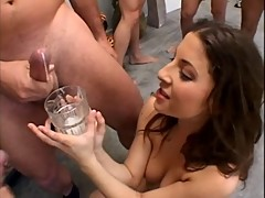 Karina Kay drink cum from a glass