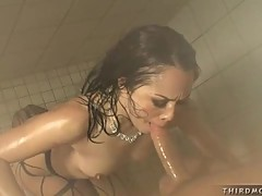 A guy gets the best from Kristina Rose's slutty mouth in the shower