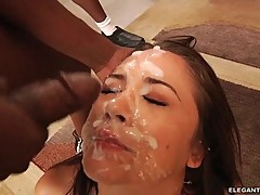 Kristina Rose gets her face saturated with warm cum