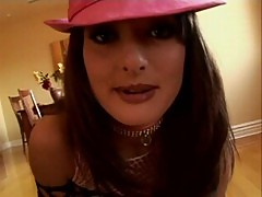 Melissa lauren wearing pink hat