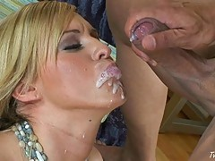 Memphis Monroe gets a huge messy mouthful of cum