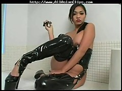 Mika Tan jilling off in latex
