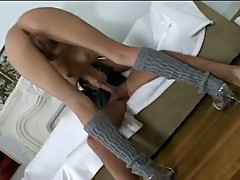 Slim brunette Missy Stone spit shines cock then sits ass down on it
