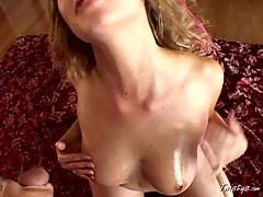 Horny Mysti May spanked her tiny tits with cum after blowjob