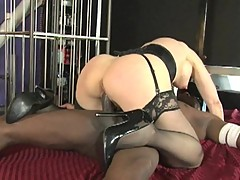 Nina Hartley rides her moist pussy on this huge dick