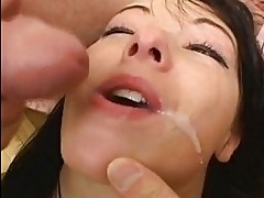 Cum lover Patricia Petite gets her mouth oozed with cock sau...