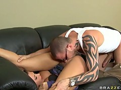 Hardcore horny slut Rachel Starr gets her pussy fucked by a big hard cock