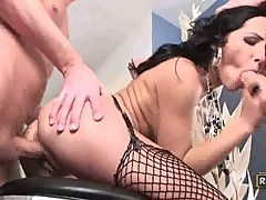 Two cock loving Rebecca Linares stabbed from both ends