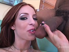 Sizzling Riley Shy gets a mouth full of hot jizz