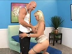 Horny slut Sarah Vandella bent over sucking on juicy meat log