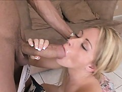 Cock sucker Sindee Jennings takes a monstrous dick like a lollipop in her mouth