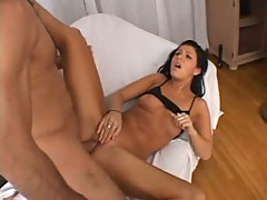 Taryn Thomas taking it up her tight twat in bed from her huge dicked lover