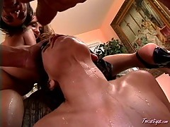Big titted Tiana Lynn shares with a friend a big cock and a cumshot