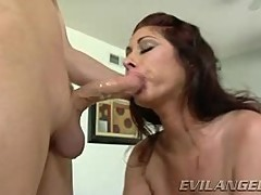 Tiffany Mynx loves slurping on this stiff skin flute