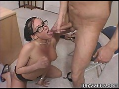 Tory Lane gets sprayed with a fresh load of cum in her mouth