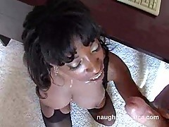Vanessa Blue takes a squirt of cum to dome like a good girl
