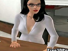 Two sexy 3D cartoon honeys fucked hard at the office