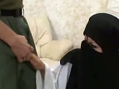 Arab chick with a burka gets a big cock