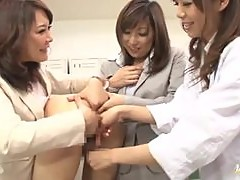 Three hot Japanese girls suck and ride a cock