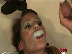 Bukkake fetish euro slut drenched in cum